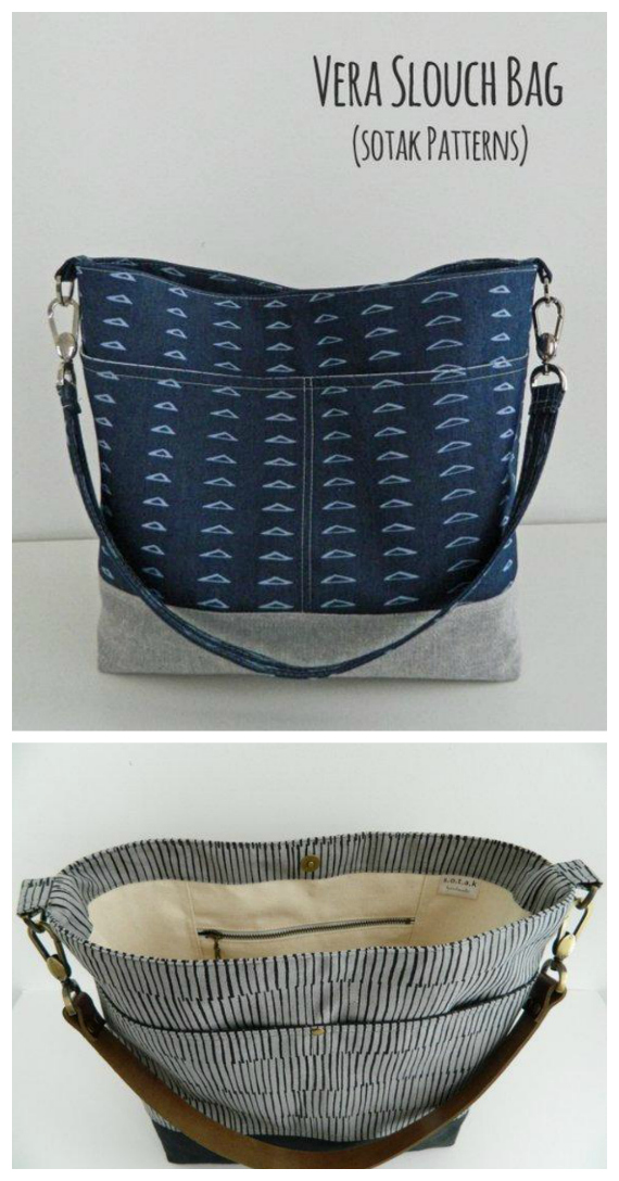 The Vera Slouch Bag pattern allows you to make this beautiful everyday purse. Vera has the following features - an interior zipper pocket, an interior slip pocket, exterior pockets, a removable strap, optional leather strap instructions.