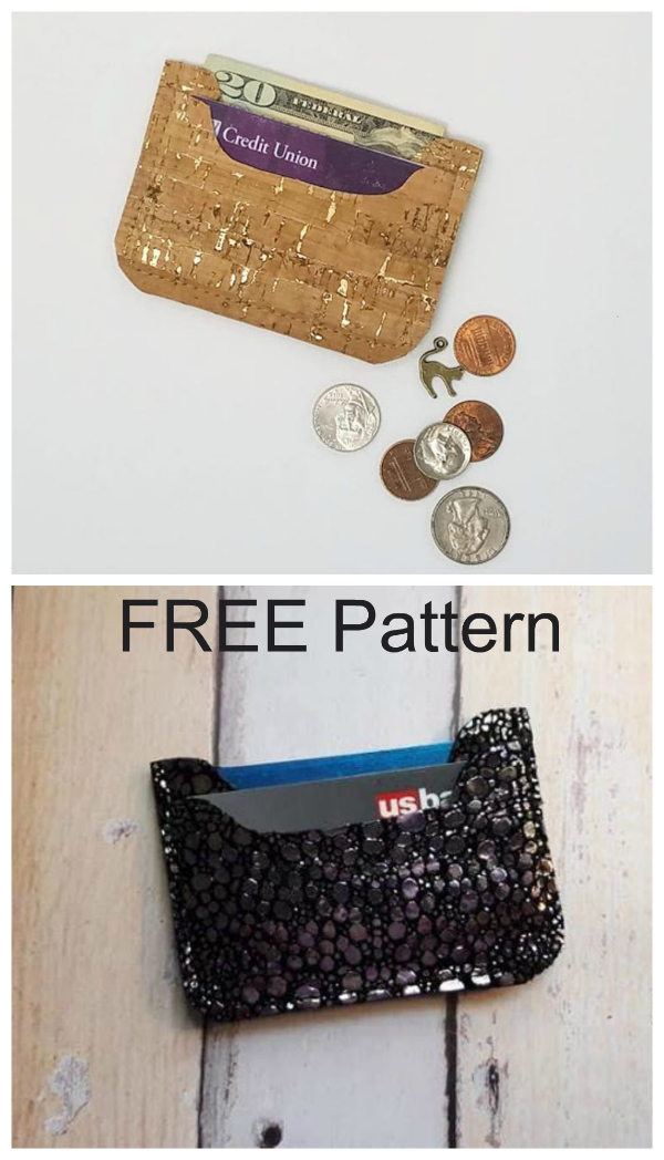 """OK, this is as simple a wallet as you will ever make, as it only has 2 seams. The Nickel Wallet comes with a FREE pattern. It's a minimalist style wallet for just the essentials. It has one smaller center pocket that is perfect for cash and a smaller credit card pocket on both the front and back. This is a perfect stash buster and only uses a 7"""" by 10"""" piece of cork, vinyl, leather, Kraft Tex or any non-fraying material."""
