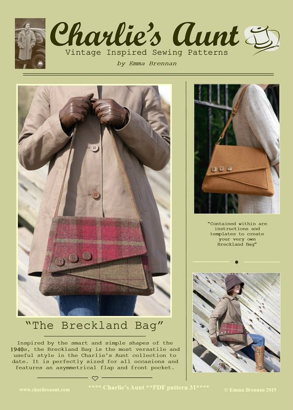 We absolutely love this designer at Sew Modern Bags. She makes top quality patterns and tutorials for bags that are inspired from the simple but slightly quirky shapes of the 1940s. The Breckland Bag is the most versatile and useful style in the designer's collection to date. It's a practical bag that is equally relevant today that is perfectly sized for all occasions.