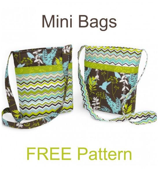 """This FREE pattern and tutorial from this designer have been designed so that you have sufficient materials to make two Mini Bags. These mini bags are quick and easy to make, have plenty of pockets and when finished will measure approximately 8"""" by 10"""" by 2""""."""