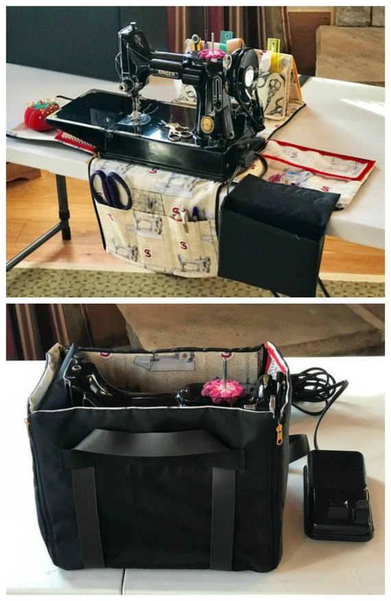 This is truly amazing what has been designed here. For Singer Featherweight sewing machine owners and lovers, here is a pattern and a tutorial that will show you how to make a zippered tote for the sewing machine. The Zippered Tote makes it easier to take the Featherweight out and put it back in the manufactured case as well as instantly converting into a workstation.