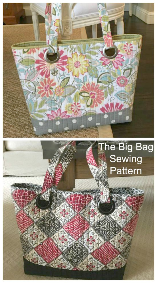 This Big Bag is designed to carry a lot of stuff, like stuff for sewing, school, travelling etc. This bag is both simple and functional and has added pockets on both sides of the inside of the bag to give it just enough storage for the smaller things, but not enough to interfere with the roominess that is the signature of the Big Bag.