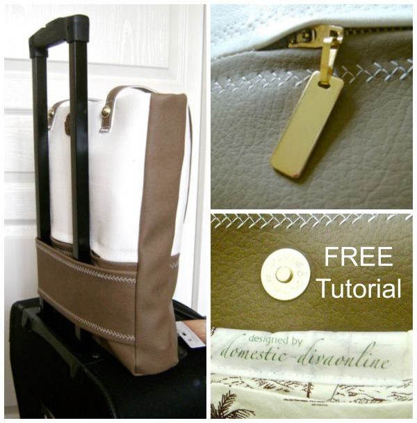 """You can see from these pictures that this FREE tutorial produces a stunningly beautiful Travel Bag. It has both style and convenience and makes the """"perfect for summer"""" vacation bag."""