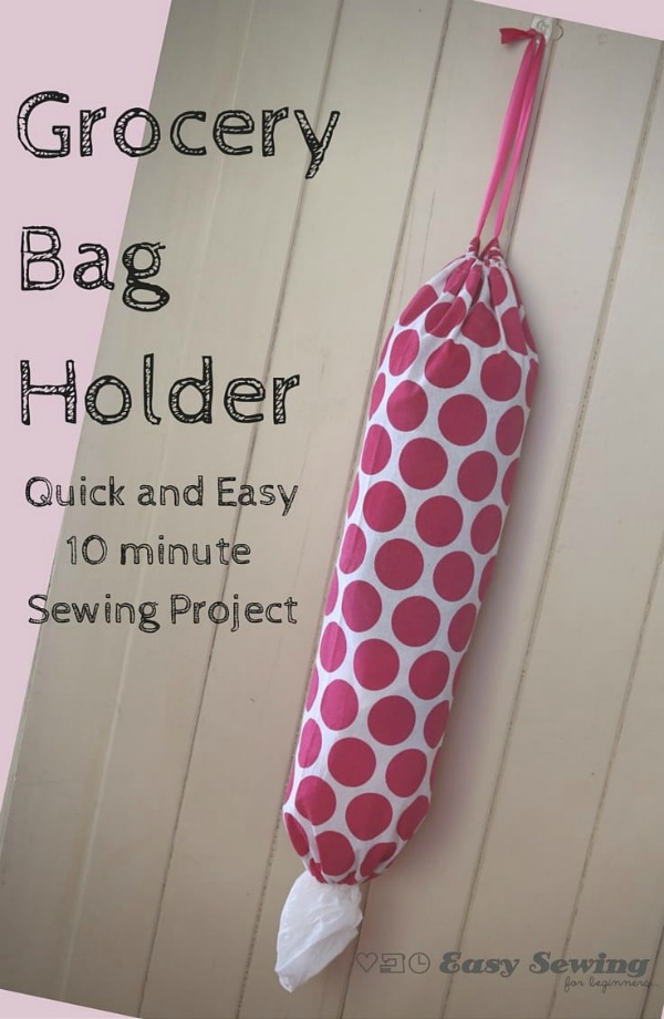 Here's a super simple and super quick sewing project for beginners. The designer will show you in an 8-minute FREE video how to sew a grocery bag holder using a tea towel. The whole project should take you 10-15 minutes once you know how to do it. With the novel use of an existing tea towel, it means no finishing off raw edges, as it's already done for you.