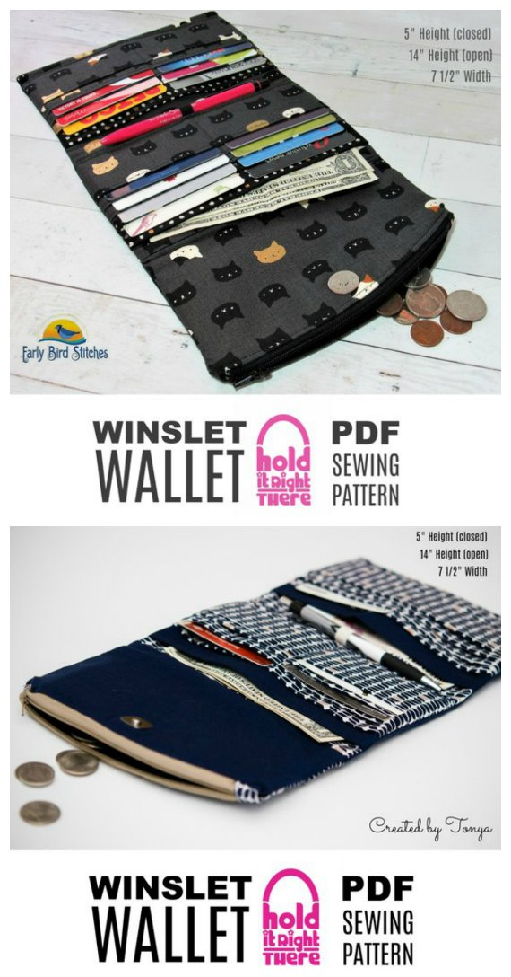 Here's an Etsy bestseller wallet pattern named the Winslet Wallet. It's a pdf sewing pattern for a Tri-Fold Wallet that has 16 card slots and a zippered flap. This wallet is a quick and easy-to-sew project that will give you a wallet where you'll find exactly what you need exactly when you want it.