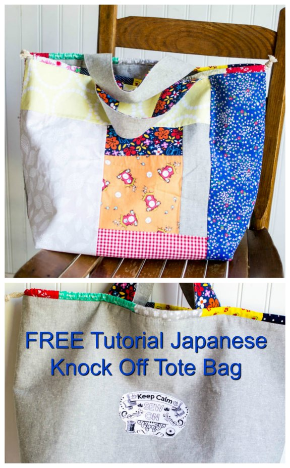 Here's a FREE tutorial to make this Japanese Knock-Off Tote Bag. The designer shows you how to make her adorable tote bag in two different ways. The first way is to make a beautiful patchwork tote with pockets on the inside. Or you can make her tote bag with pockets on the outside and patchwork on the inside. You choose which one to make or if you like you could make them both.
