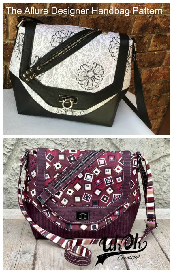 The Allure Designer Handbag is a fun, medium-sized, bag with an adjustable strap. You can wear it on your shoulder or across your body. The super fun flap features a trimmed zipper pocket, perfect for your keys.