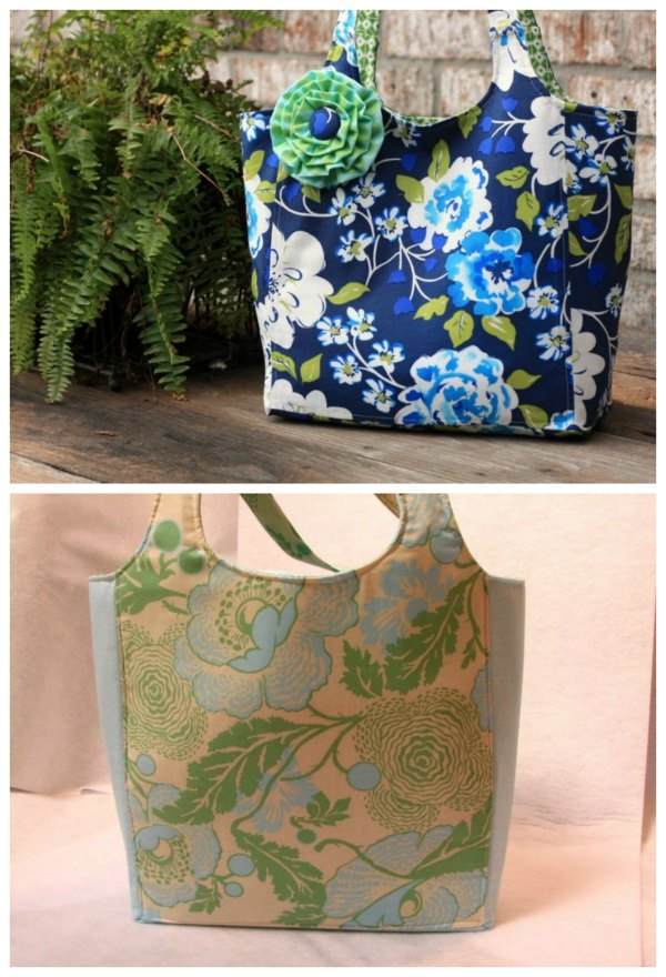 Here's a great sewing pattern for a versatile bag named The Ava Rose Tote. The designer has made this medium-sized tote so that it can be used as an occasional carry all or everyday bag. It can be made with one or two fabrics and can also be made reversible.