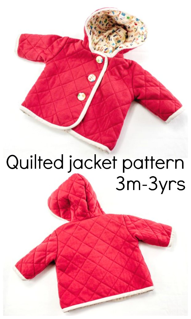 Baby coat quilted jacket with hood sewing pattern