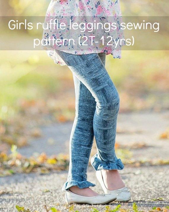 girls ruffled leggings sewing pattern