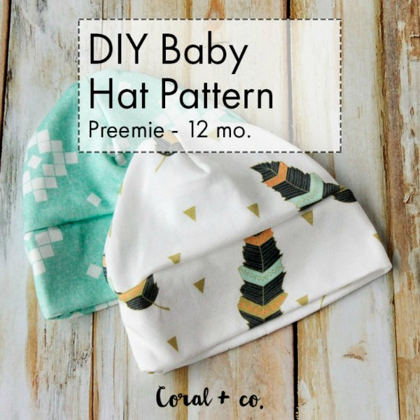 Baby hat free sewing pattern. Super soft, available in sizes from preemie to 12 months
