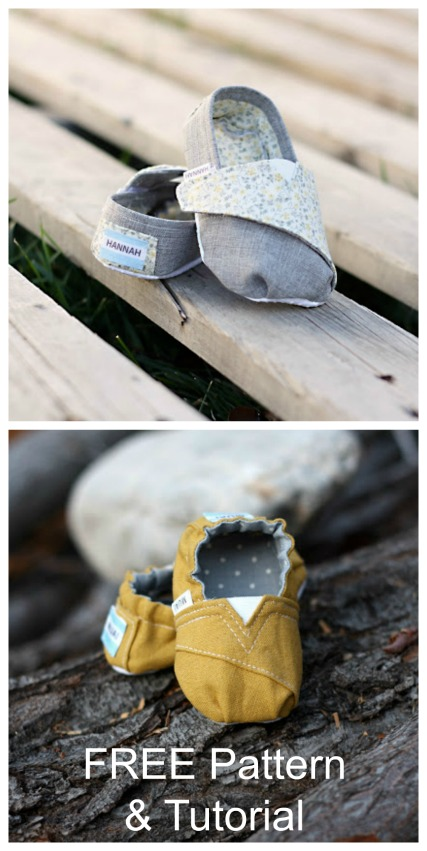 These baby and toddler shoes are really comfortable and by sewing a little elastic in the back and adding a Velcro strap this all helps to keep baby's foot snug inside. Featuring some of the characteristics of those cute little TOMS, yet personal to the little toes inside. You can also add a little tag to the back which adds a beautiful touch to a simple design.