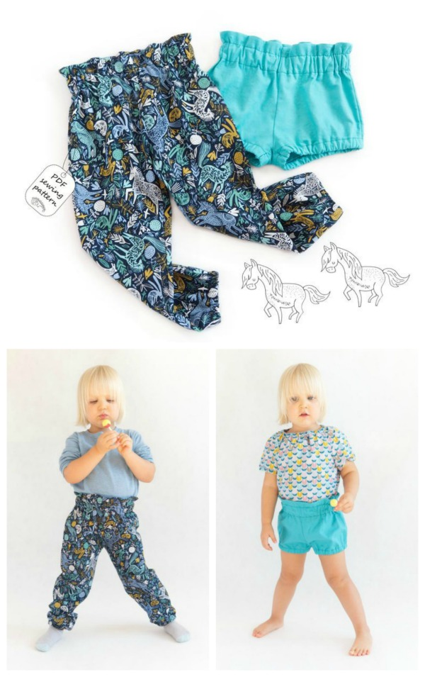 Here's your chance to download one pdf document and get two patterns for the price of one. From this one download, you get to make a pair of girls High Waisted Pants and a pair of shorts.