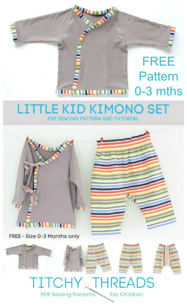 How cool is this Little Kid Kimono Set? The designer has produced this set in a free pattern. The top and trousers come together as an adorable set but they can also be used separately.