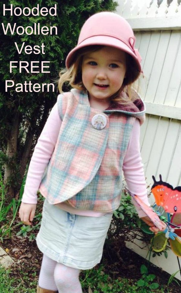 Here's another digital pattern where the designer has very kindly produced the pattern for everyone for FREE. It's a Hooded Woollen Vest that is suitable for a confident beginner to sew, that comes in various sizes from 12 months to 6 years.