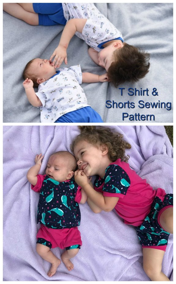This wonderful designer has taken two of her most popular patterns and put them together as a set. This easy and really cute T-shirt and Shorts sewing pattern is ideal for a beginner level sewer. Both projects have been designed to use the lowest amount of fabric and the designers suggested fabrics are Jersey Knit, Interlock, Stretch fabrics.