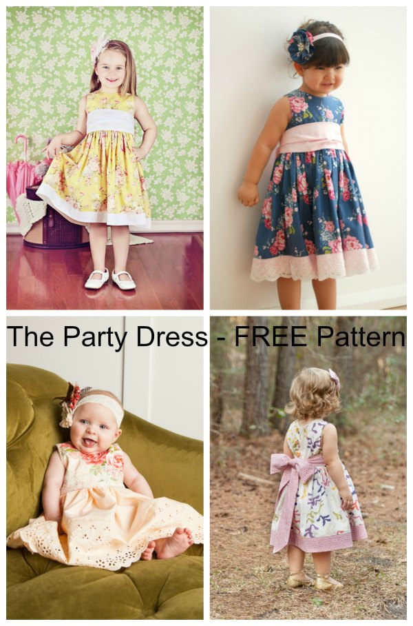The Party Dress is the ultimate classic dress and has the following features (1) a big bow sash makes every little girl feel like a princess (2) a fully lined bodice and encased waist seams for total comfort for your little one (3) the bodice back features button loop closures…..so no buttonholes or zippers. The awesome digital pattern is available for FREE.