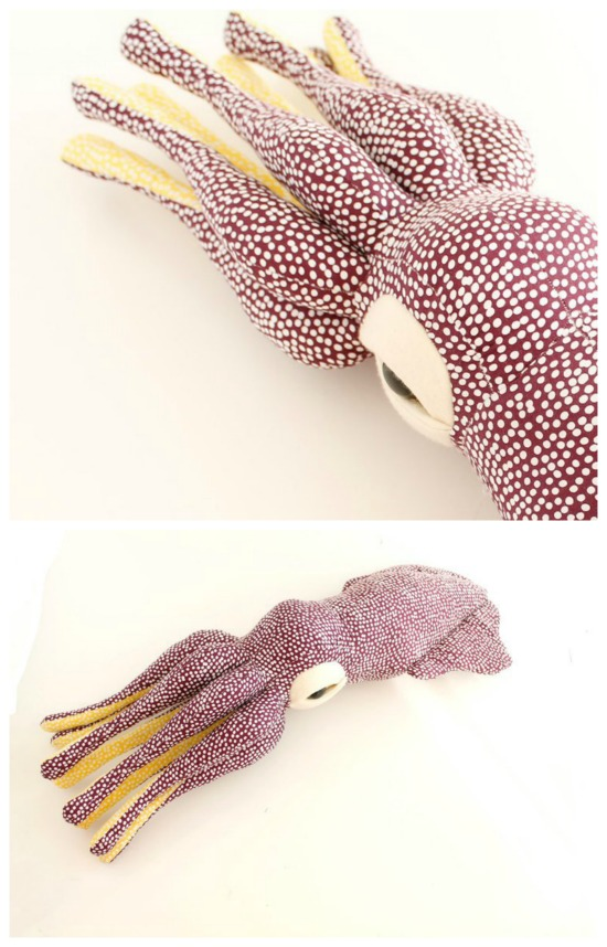 """What a lovely looking toy this is. And you can make it yourself by downloading the digital pattern and making this awesome stuffed toy squid. Using soft fabrics of your choice why not make this fun project that when finished measures approximately 63cm (25"""")."""