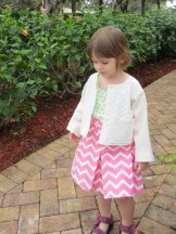 Cropped Jacket and Chervon Pleated Skirt