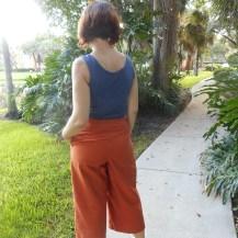 Rust Organic Cotton Twill Holly/B5504 Pattern Hack Capri's