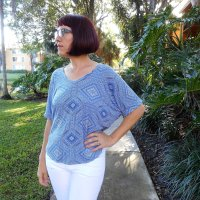 Blue + White Dolman Sleeve Tee