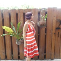 V9312 Refashioned Orange + White Stripe Dress