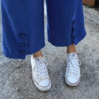 Royal Blue Linen Culottes with Button Detail