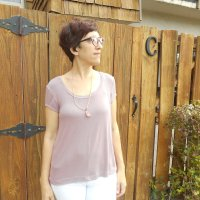 Dusty Rose Micro Rib Knit Ruska Tee