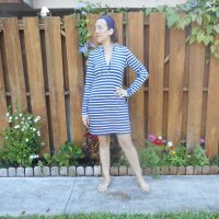 Navy + White Stripe Hooded Swim Dress