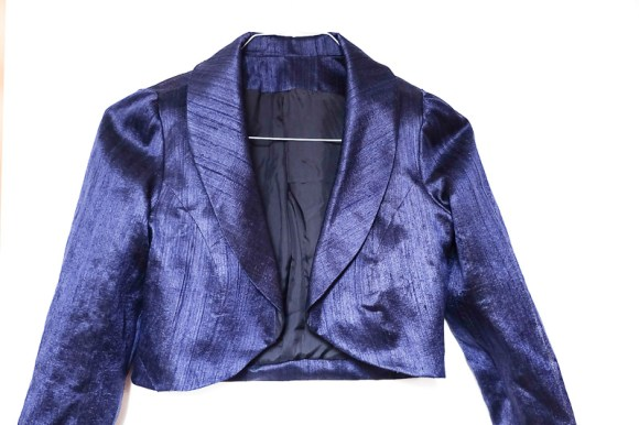 Raw Silk Navy Bolero handmade using pattern New Look 6080