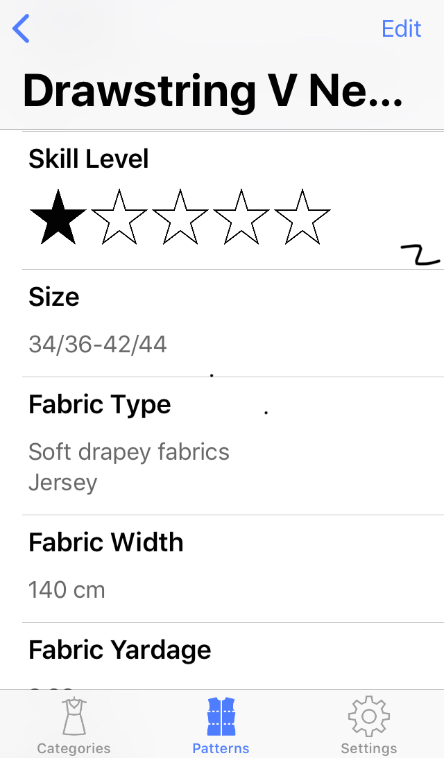 Sewing Patterns App - Add Pattern 2