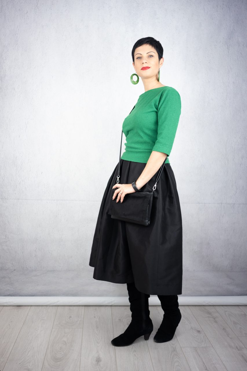 Pleaded midi-skirt with waist-long jumper