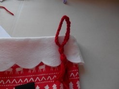 on the front of the stocking