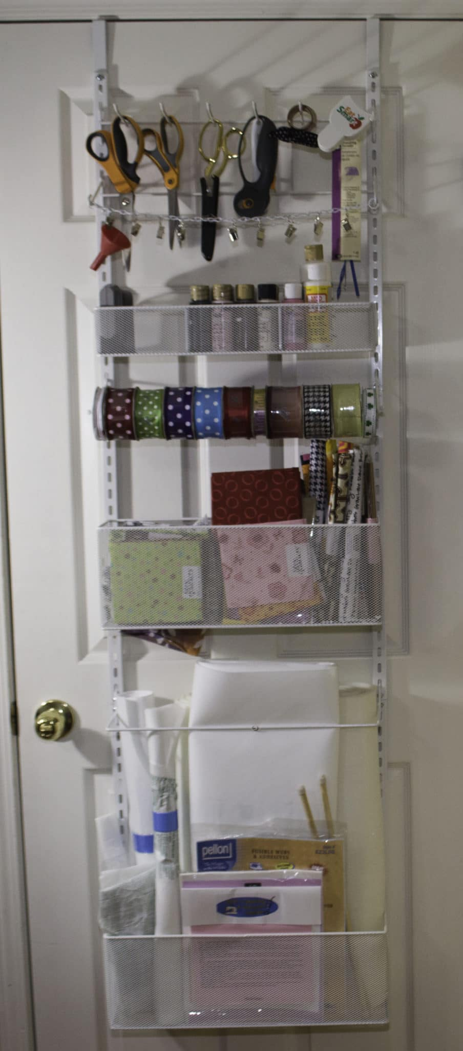 Over The Door 3 Tier Bathroom Towel Bar Rack Chrome W: Sewing Room Organizing Hacks