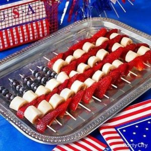 Strawberry Fruit Kabobs, July 4th Party