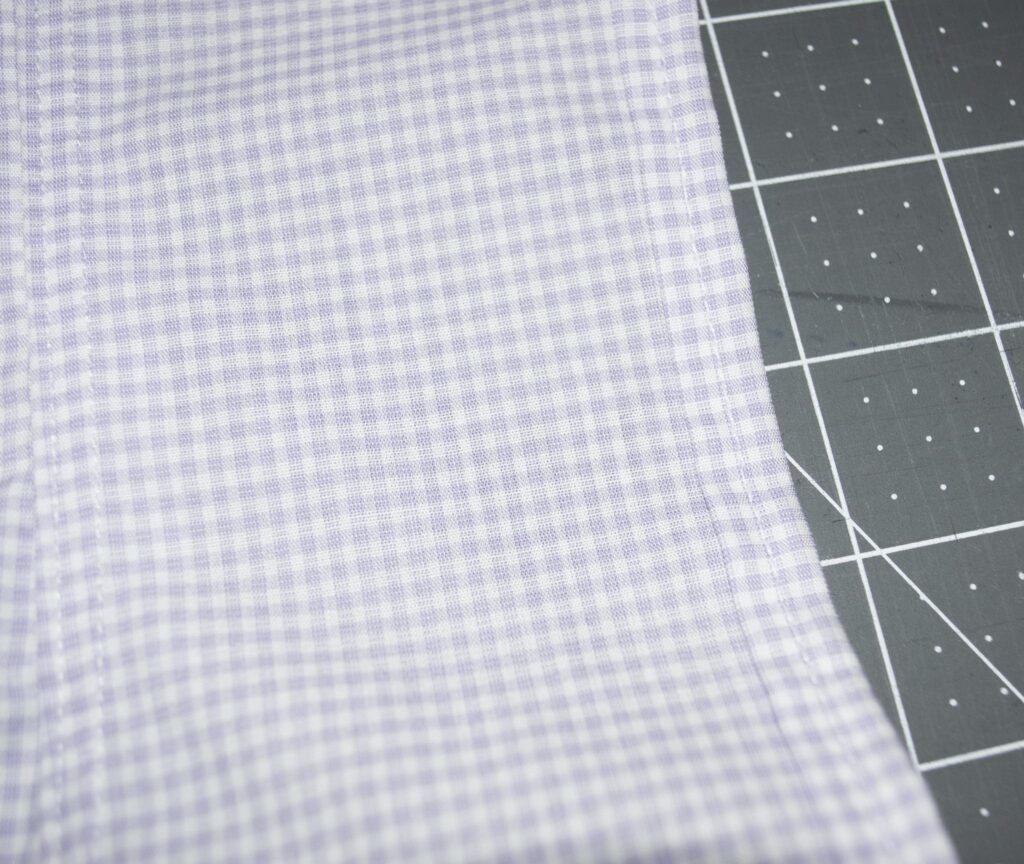 Hem the Back Edges, Make an apron from a man's shirt