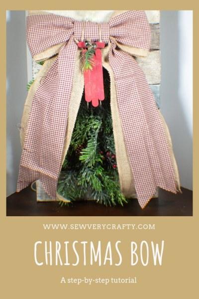DIY Christmas Bow Door Hanging