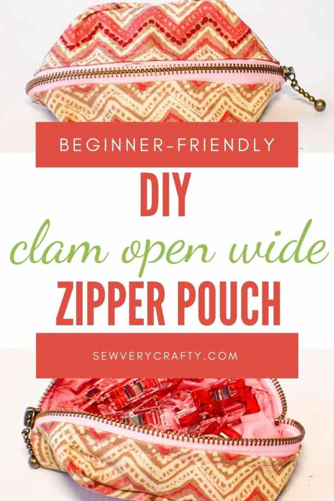 How to make a clam open wide zipper pouch
