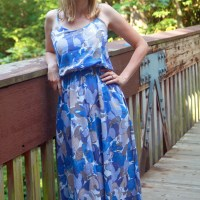 Blooming Blues Maxi Dress in Cotton Voile