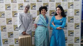 "How many 60 year olds can say this? I dressed as a Star Trek character at the San Diego Comic-Con! I was Lwaxanna Troi with my daughter, ""Deanna"" and my servant, ""Mr. Hom."""