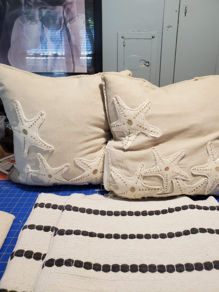 Old Accent Pillows in Bedroom