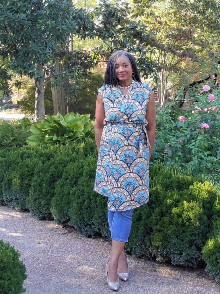 Simplicity S9047 African Print Wrap Dress with Side Tie