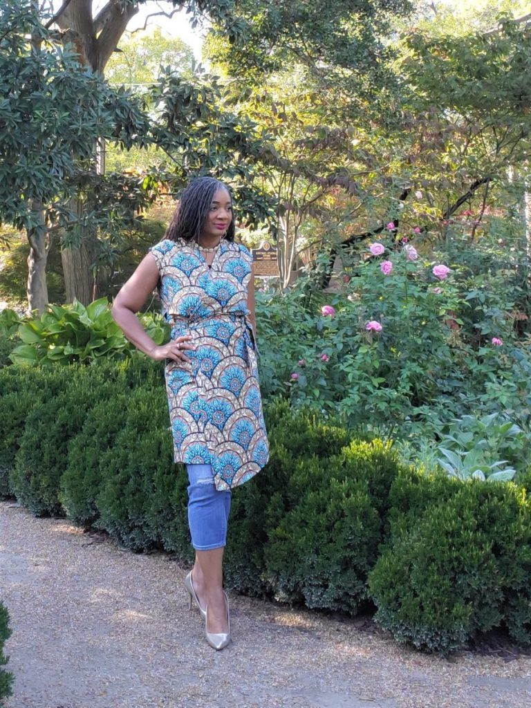 Simplicity S9047 African Print Wrap Dress with Side Tie/ www.sewzaizay.com