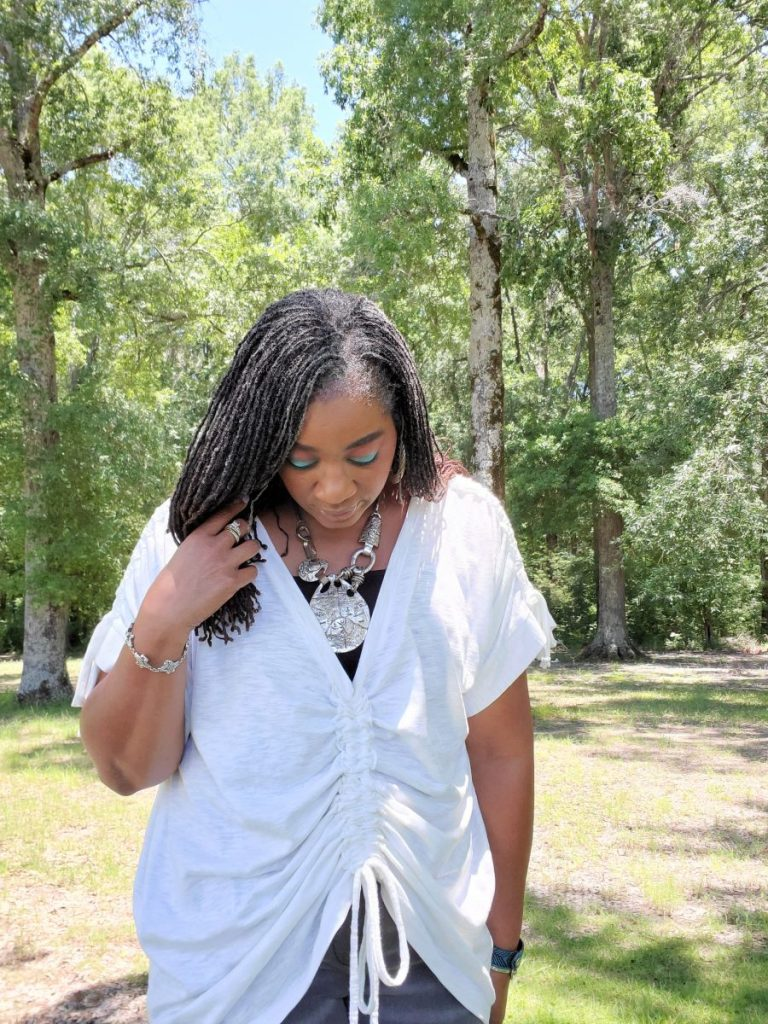 Oversized Cotton Tee with Drawstring Front and Sleeves