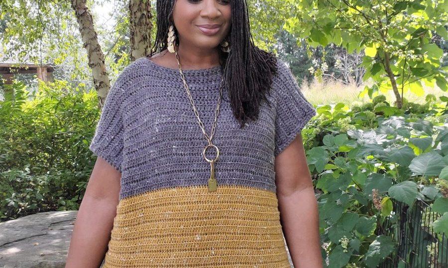 Mustard and gray Crochet Tunic WWW.sewzaizay.com
