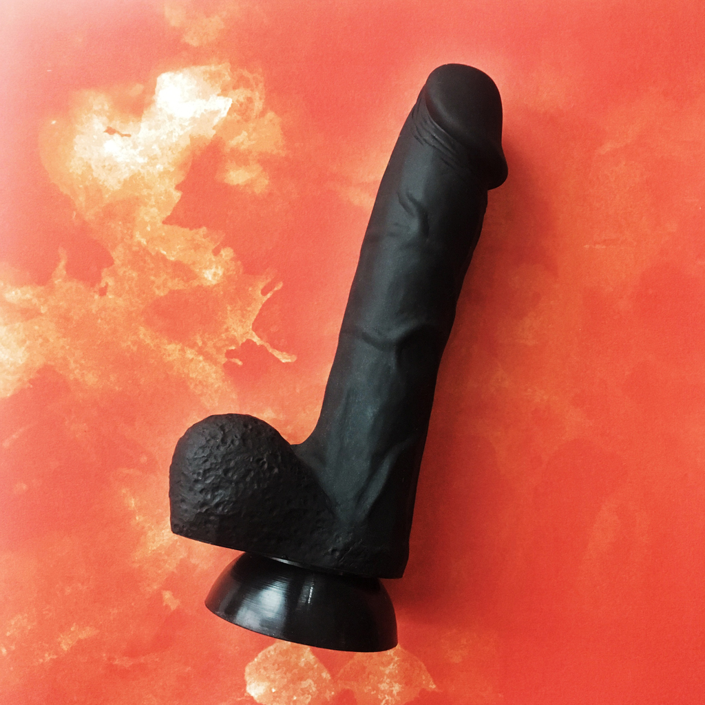 Side view of the black Cloud9 silicone suction cup dildo