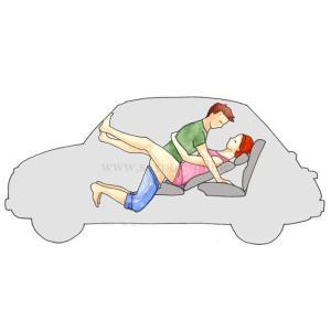 Поза для секса в машине на переднем сидении Миссионерская Девушка лижит на откинутом кресле Парень сверху упирается ногами