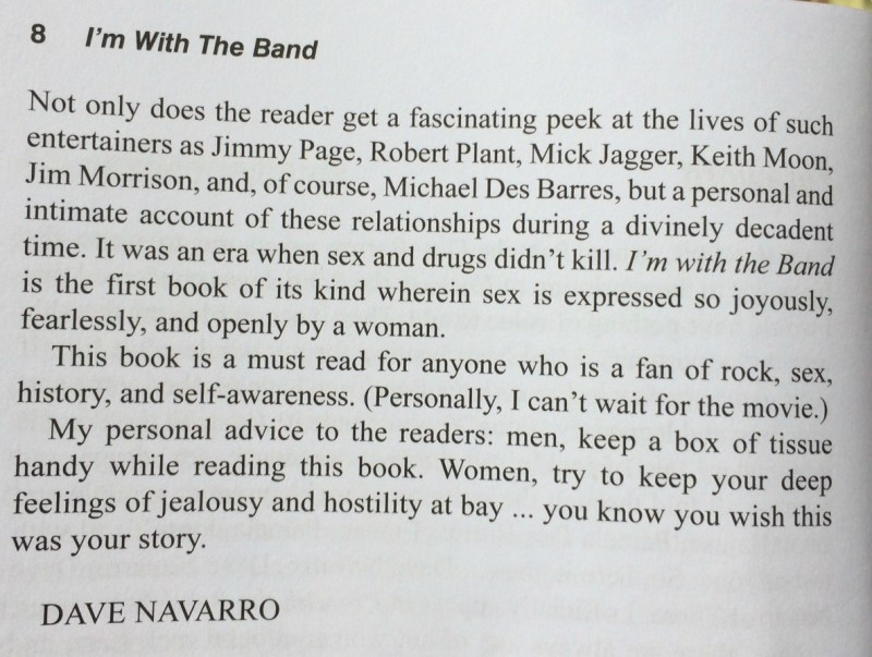 Foreword by Dave Navarro from 'I'm With The Band' by Pamela Des Barres