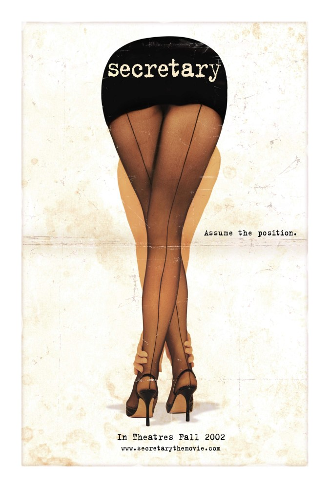 Secretary poster showing a drawing of a woman bending over, wearing tights with a seam up the back