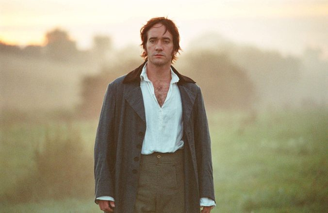 An image from Pride and Prejudice showing Darcy walking in the fog